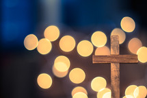 bokeh lights and cross