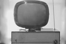 Vintage TV from the !950's with a blank screen in black and white