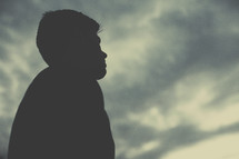 side profile silhouette of a man