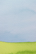 painted grass and sky on watercolor paper.