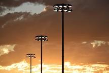 Friday Night Lights at sunset