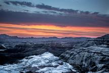 rugged landscape at sunset