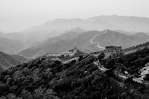 Great Wall of China and the mountains beyond.