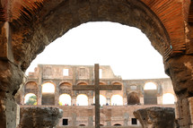 The cross inside the Roman Colosseum
