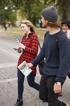 students walking to class on campus
