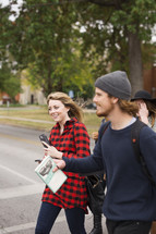 college students walking to class on campus