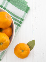Fresh Mandarin Oranges on a White Background