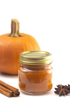 A Glass Canning Jar Filled with Pumpkin Puree