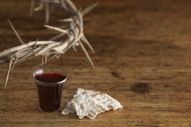 communion elements and crown of thorns
