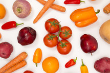 red and orange produce background