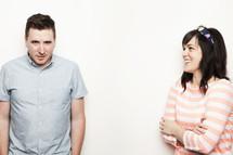 husband questioning his wife's antics