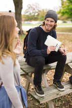a young adult Bible study outdoors