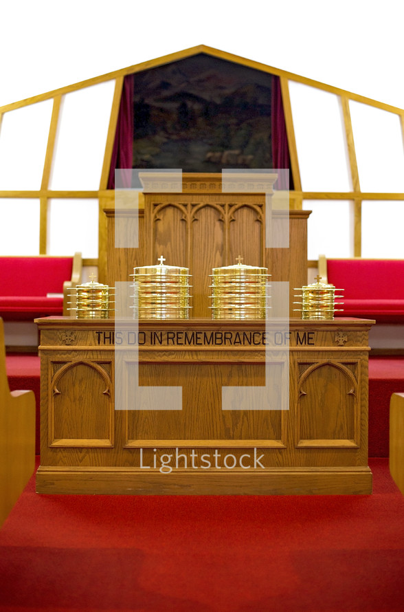 Communion Prepared for a Christian Congregation on the altar