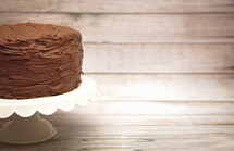 chocolate cake on a cake stand