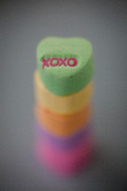 stacked candy conversation hearts for Valentine's Day, xoxo