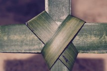 center of a palm frond cross closeup, Palm Sunday