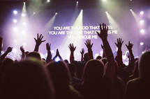people with raised hands standing during a worship service