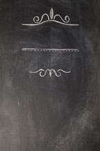 decorative scroll on a chalkboard