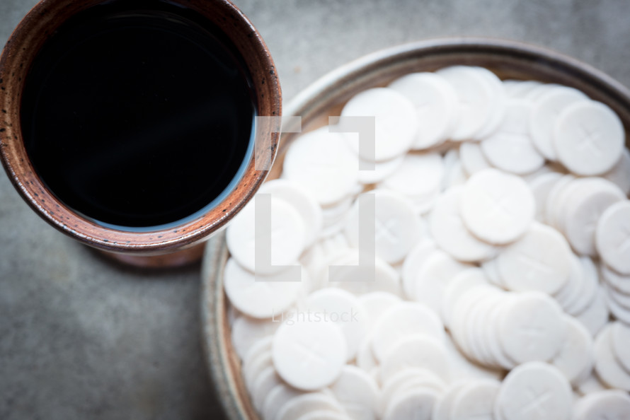 Communion wafers and wine.