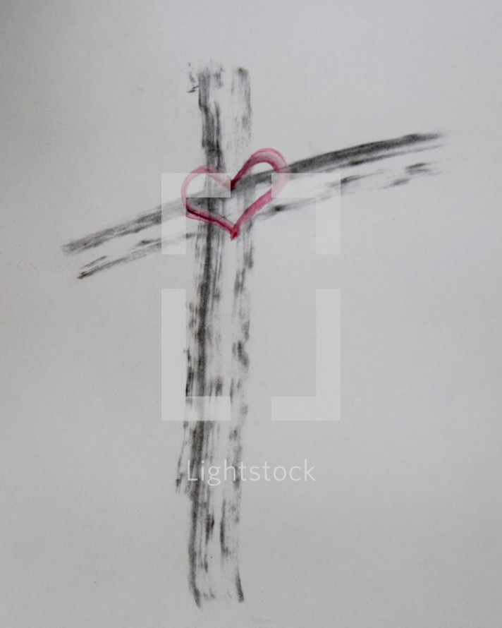 Cross drawn with Ashes with red watercolor heart in center for Ash Wednesday