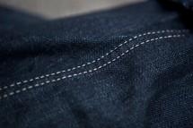 Double seam of denim jeans.
