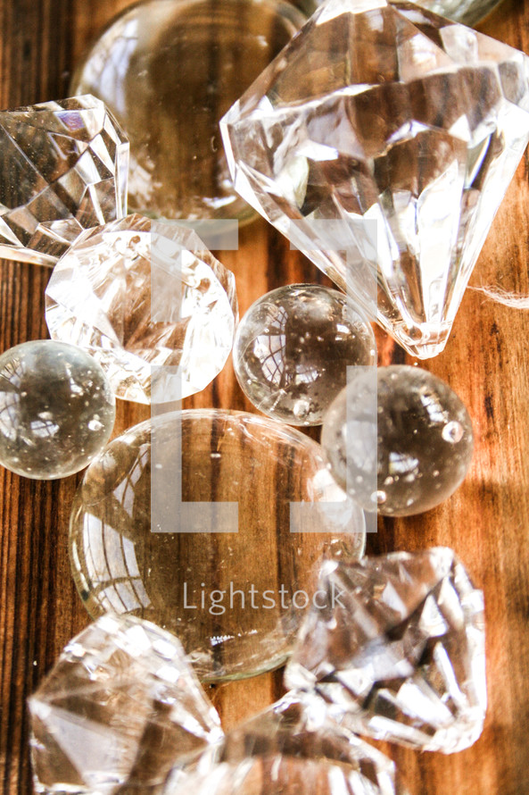 clear glass marbles and knobs