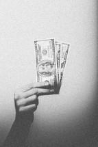 hand holding up money