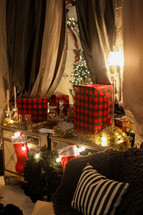 wrapped Christmas gifts, stockings, strand of lights, Christmas, gifts, presents, Christmas tree, curtains, Christmas scene, living room, sitting room