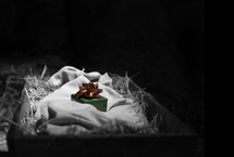 Green wrapped box with red bow on linen cloth in hay-filled basket.