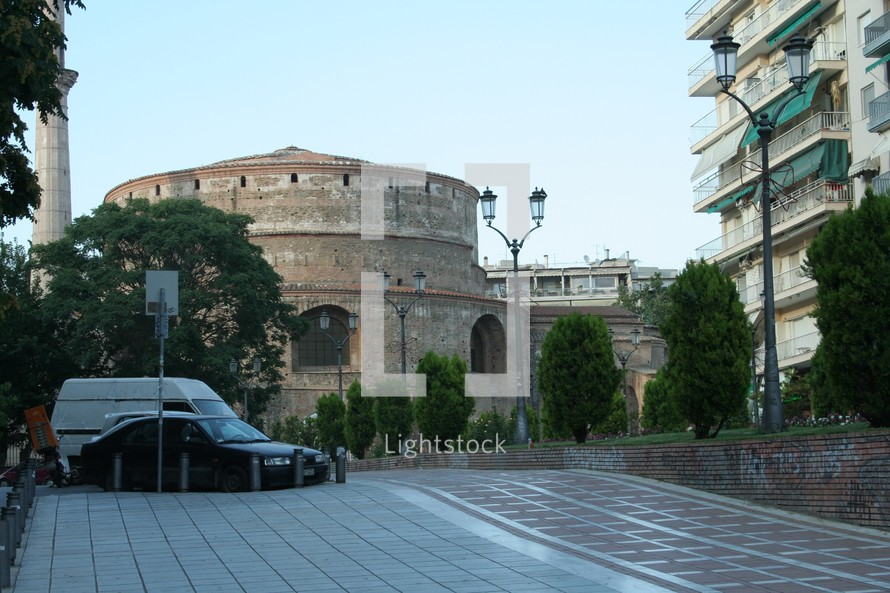 Thessalonica Arch of Galerius. This distinctive landmark from Thessaloniki, Greece may have been built in the 13th century. Built for defense, it currently houses a museum.