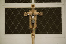 Crucifix cross in a Roman Catholic church.