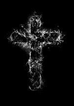 water slashing in the shape of a cross