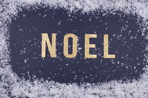 word Noel and snow border