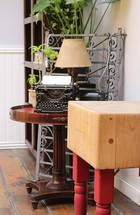 antique typewriter on a table