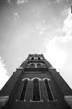 The facade of a beautiful church rises into the sky.