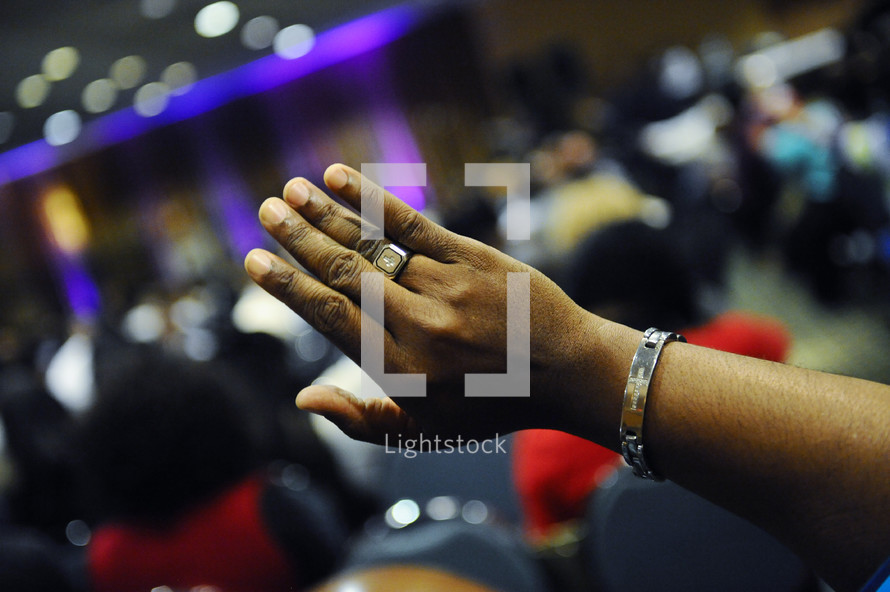 raised hands at a worship service