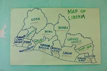 hand drawn map of Liberia