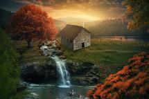 rural church, creek, stream, waterfall, pond, trees, sunrise, church