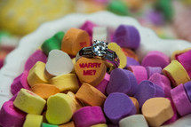 engagement ring in conversation hearts