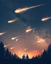 A man and woman look on as asteroids crash to the earth