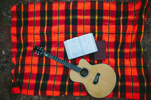 guitar, Bible, journal, blanket, plaid blanket