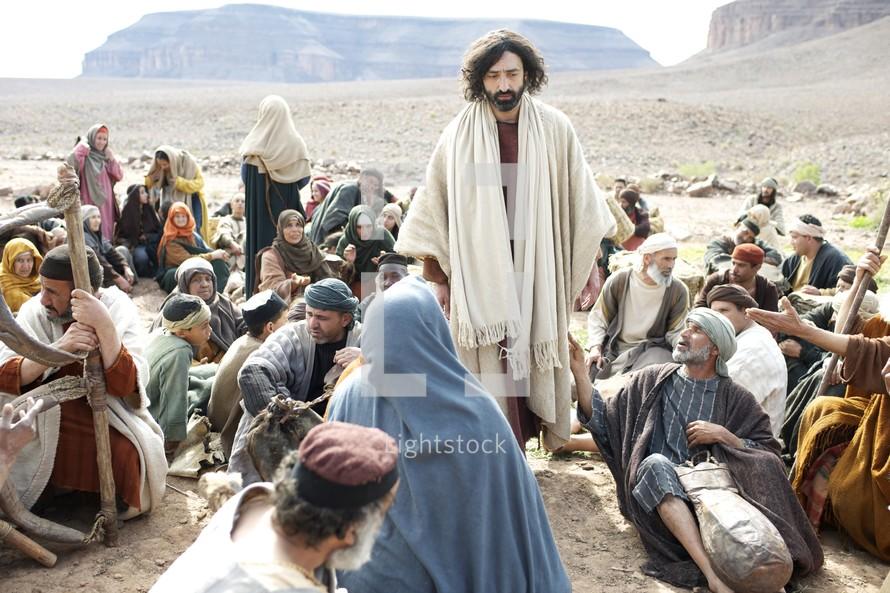 Jesus walking amongst a crown