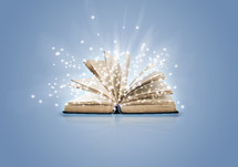 twinkling light coming from the turning pages of a Bible