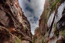 Steep cliffs lining a deep gorge.