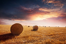 hay bales in a plowed field at sunset