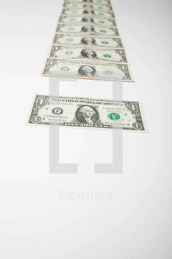 Series of one dollar bills.