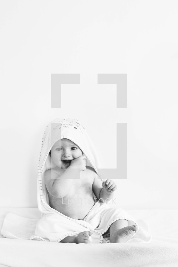 an infant in a towel