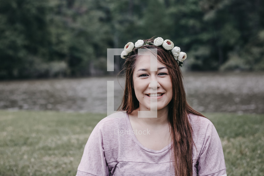 a woman with flowers in her hair