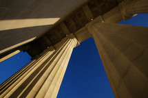 Looking up the columns at the Lincoln Memorial