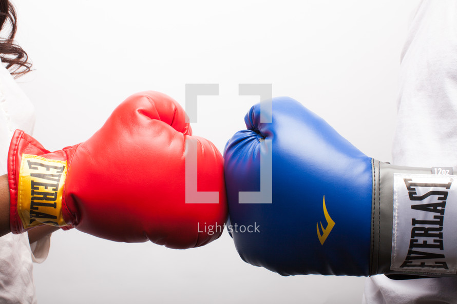 red and blue boxing glove